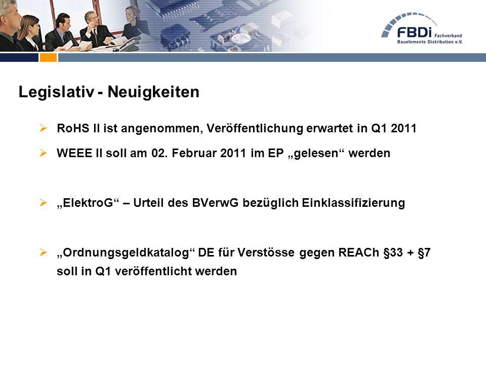 """ RoHS II ist angenommen, Veröffentlichung erwartet in Q1 2011  WEEE II soll am 02. Februar 2011 im EP """"gelesen"""" werden  """"ElektroG"""" – Urteil des BVe"""