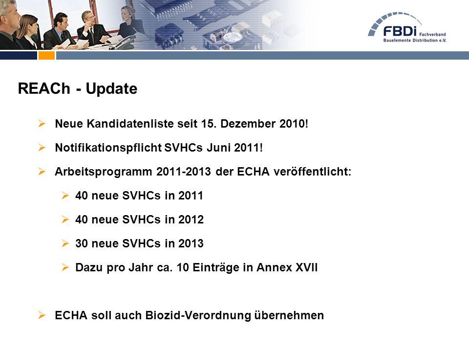  Neue Kandidatenliste seit 15. Dezember 2010!  Notifikationspflicht SVHCs Juni 2011!  Arbeitsprogramm 2011-2013 der ECHA veröffentlicht:  40 neue