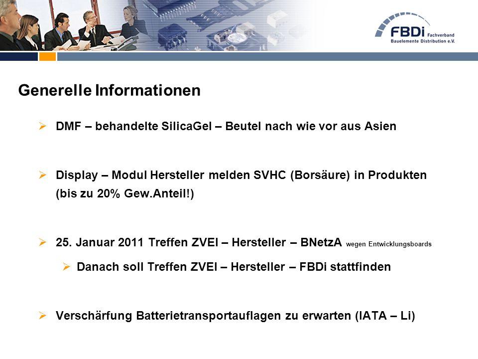 DMF – behandelte SilicaGel – Beutel nach wie vor aus Asien  Display – Modul Hersteller melden SVHC (Borsäure) in Produkten (bis zu 20% Gew.Anteil!)
