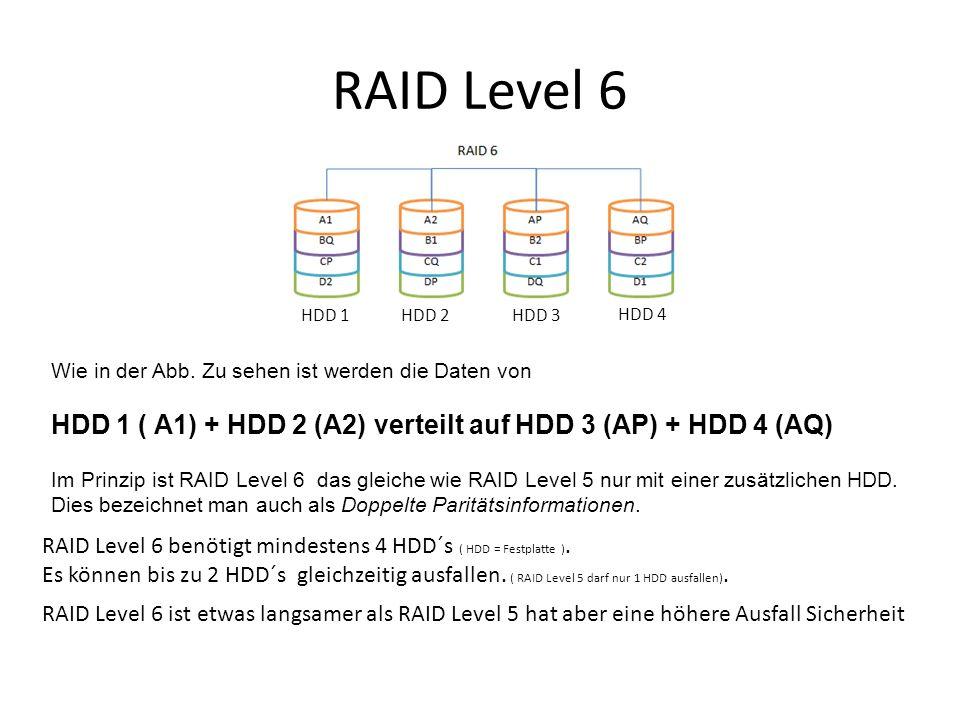 RAID Level 6 RAID Level 6 benötigt mindestens 4 HDD´s ( HDD = Festplatte ). Es können bis zu 2 HDD´s gleichzeitig ausfallen. ( RAID Level 5 darf nur 1