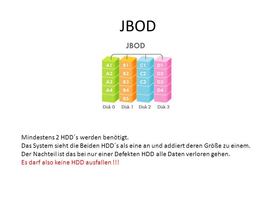 JBOD Mindestens 2 HDD´s werden benötigt. Das System sieht die Beiden HDD´s als eine an und addiert deren Größe zu einem. Der Nachteil ist das bei nur