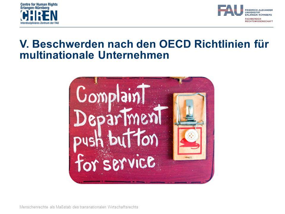 V. Beschwerden nach den OECD Richtlinien für multinationale Unternehmen Menschenrechte als Maßstab des transnationalen Wirtschaftsrechts