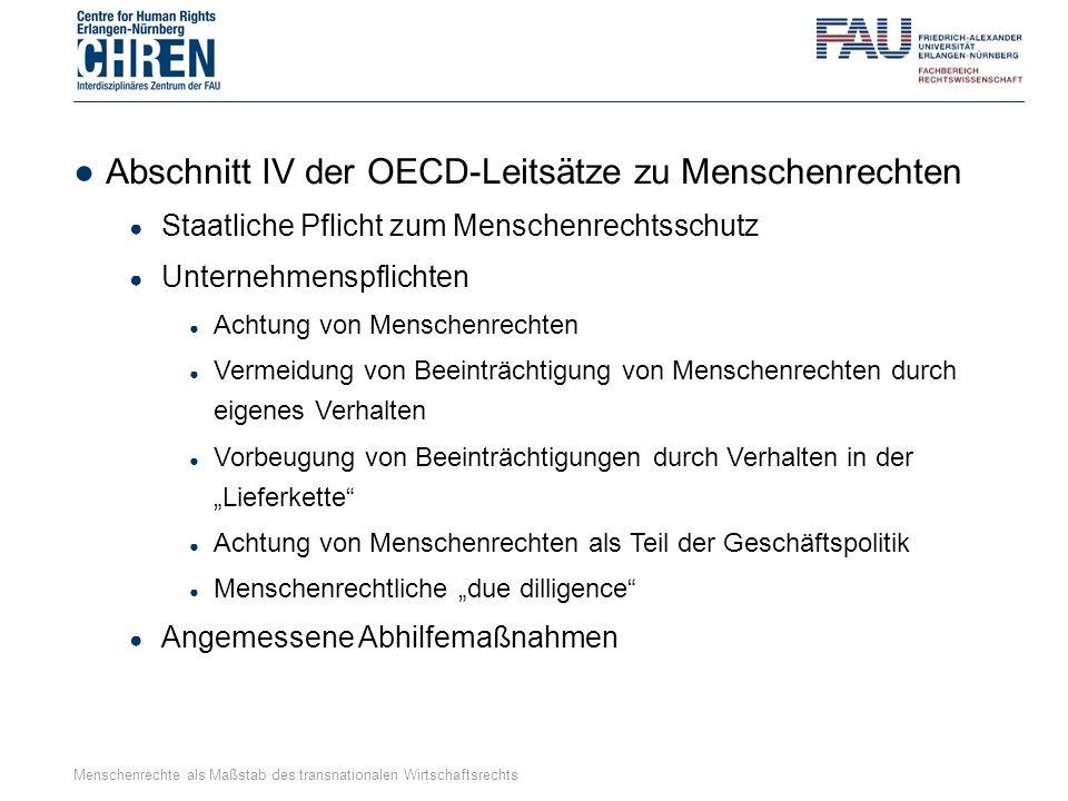 ●Abschnitt IV der OECD-Leitsätze zu Menschenrechten ● Staatliche Pflicht zum Menschenrechtsschutz ● Unternehmenspflichten ● Achtung von Menschenrechte