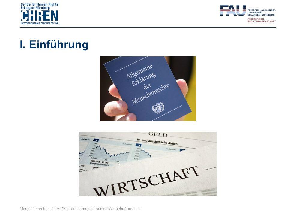 I. Einführung Menschenrechte als Maßstab des transnationalen Wirtschaftsrechts