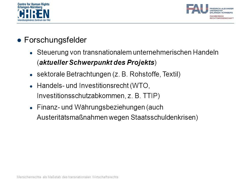 ●Forschungsfelder ● Steuerung von transnationalem unternehmerischen Handeln (aktueller Schwerpunkt des Projekts) ● sektorale Betrachtungen (z. B. Rohs