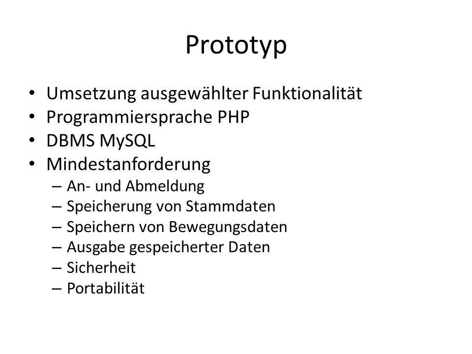 Prototyp Umsetzung ausgewählter Funktionalität Programmiersprache PHP DBMS MySQL Mindestanforderung – An- und Abmeldung – Speicherung von Stammdaten – Speichern von Bewegungsdaten – Ausgabe gespeicherter Daten – Sicherheit – Portabilität