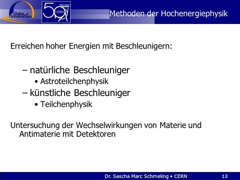 Dr. Sascha Marc Schmeling CERN13 Methoden der Hochenergiephysik Erreichen hoher Energien mit Beschleunigern: –natürliche Beschleuniger Astroteilchenph