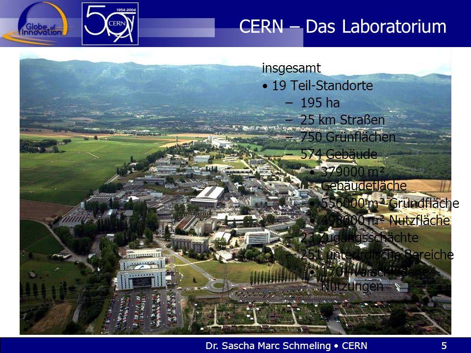 5 CERN – Das Laboratorium insgesamt 19 Teil-Standorte –195 ha –25 km Straßen –750 Grünflächen –574 Gebäude 379000 m² Gebäudefläche 556000 m² Grundfläche 498000 m² Nutzfläche –23 Zugangsschächte –251 unterirdische Bereiche 1701 verschiedene Nutzungen