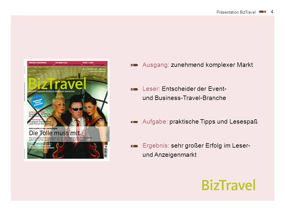 4 Präsentation BizTravel Ausgang: zunehmend komplexer Markt Leser: Entscheider der Event- und Business-Travel-Branche Aufgabe: praktische Tipps und Lesespaß Ergebnis: sehr großer Erfolg im Leser- und Anzeigenmarkt