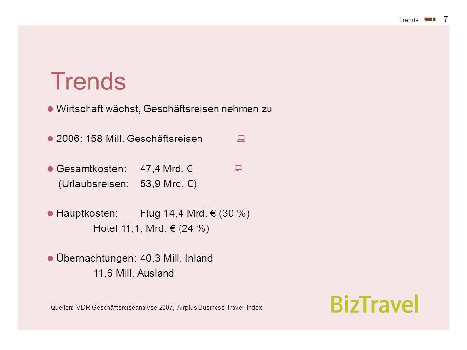 7 Trends Wirtschaft wächst, Geschäftsreisen nehmen zu 2006: 158 Mill.