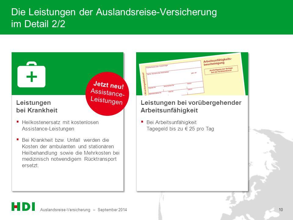 Auslandsreise-Versicherung – September 2014 10 Die Leistungen der Auslandsreise-Versicherung im Detail 2/2 Leistungen bei Krankheit  Bei Arbeitsunfäh