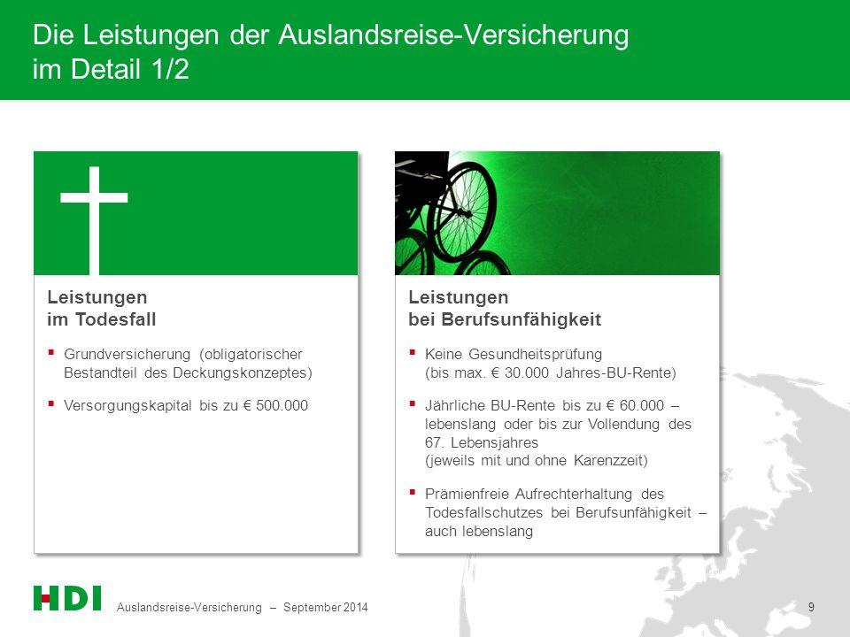 Auslandsreise-Versicherung – September 2014 9 9 Die Leistungen der Auslandsreise-Versicherung im Detail 1/2  Grundversicherung (obligatorischer Besta