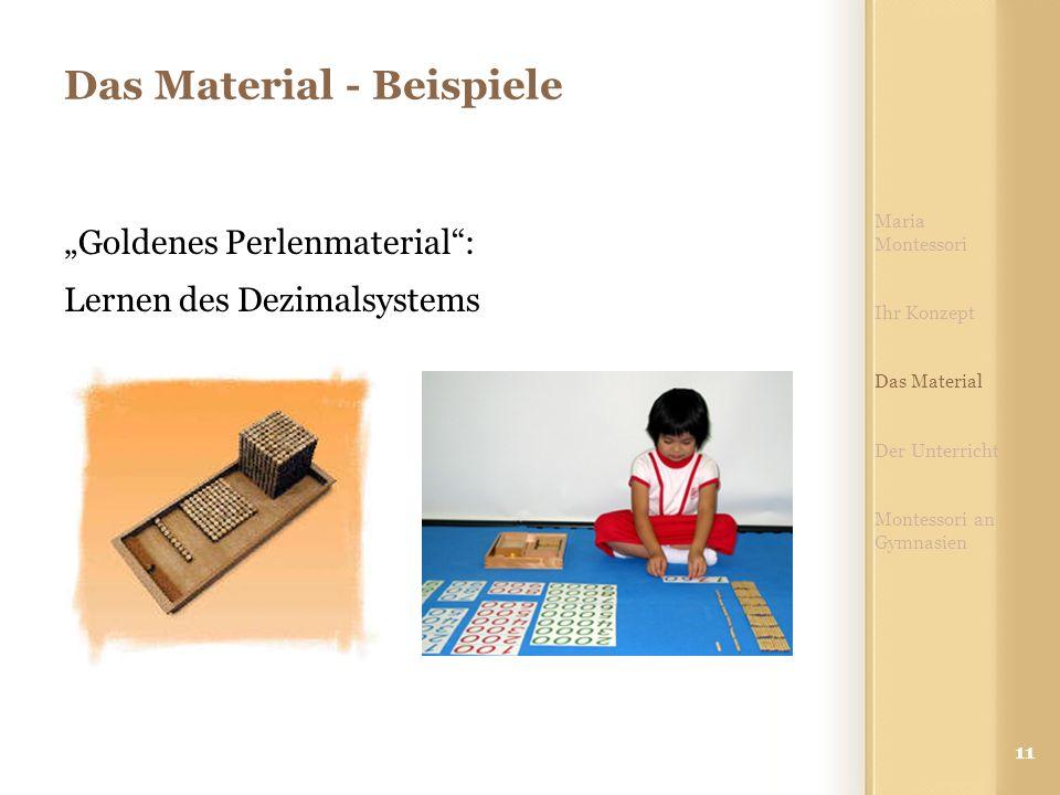 """11 Das Material - Beispiele """"Goldenes Perlenmaterial"""": Lernen des Dezimalsystems Maria Montessori Ihr Konzept Das Material Der Unterricht Montessori a"""