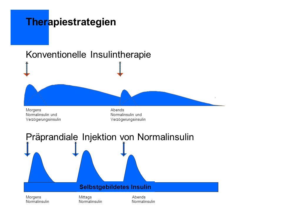 Therapiestrategien Konventionelle Insulintherapie Präprandiale Injektion von Normalinsulin MorgensAbendsNormalinsulin undVerzögerungsinsulin Morgens M