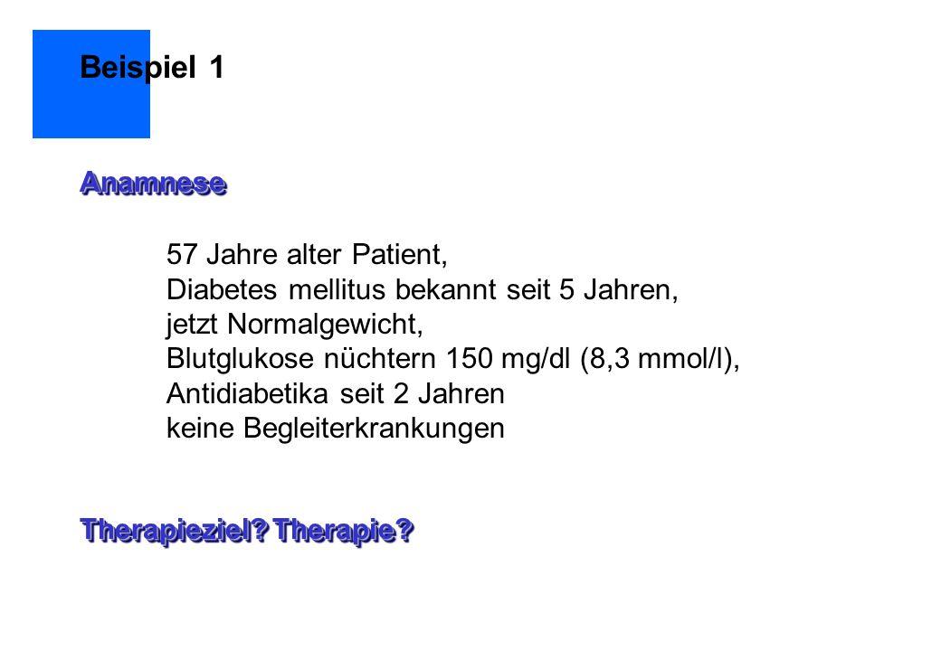 57 Jahre alter Patient, Diabetes mellitus bekannt seit 5 Jahren, jetzt Normalgewicht, Blutglukose nüchtern 150 mg/dl (8,3 mmol/l), Antidiabetika seit