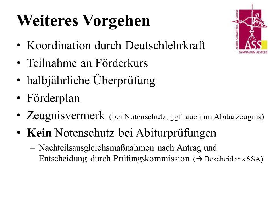 Weiteres Vorgehen Koordination durch Deutschlehrkraft Teilnahme an Förderkurs halbjährliche Überprüfung Förderplan Zeugnisvermerk (bei Notenschutz, ggf.