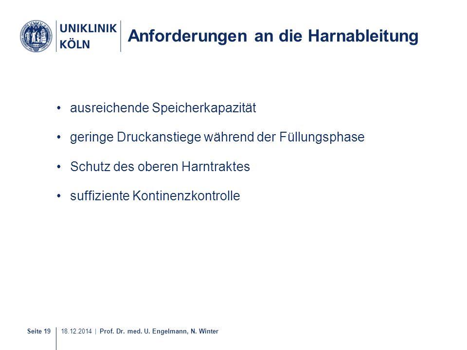 Seite 19 18.12.2014 | Prof. Dr. med. U. Engelmann, N. Winter 27-40 Anforderungen an die Harnableitung ausreichende Speicherkapazität geringe Druckanst