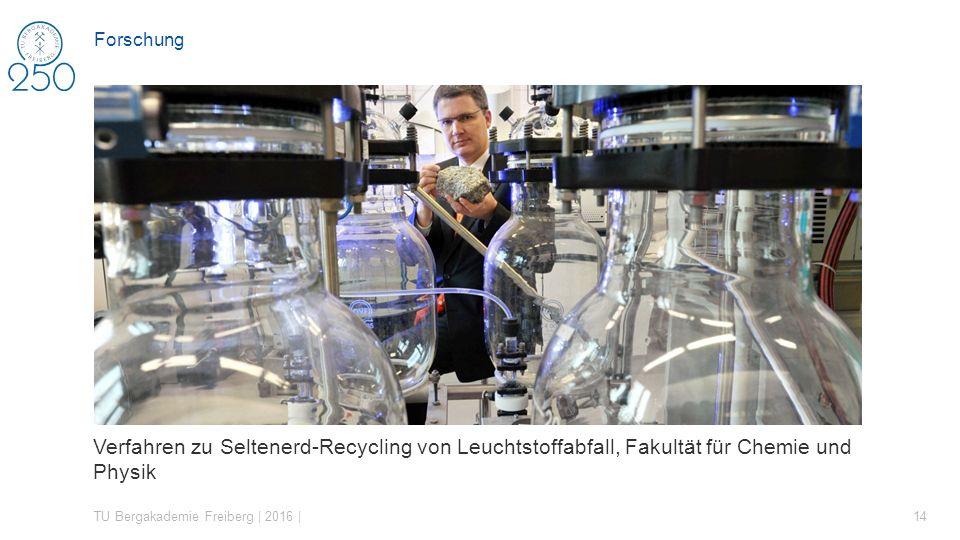 Verfahren zu Seltenerd-Recycling von Leuchtstoffabfall, Fakultät für Chemie und Physik TU Bergakademie Freiberg | 2016 | 14 Forschung