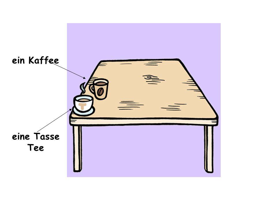 ein Orangensaft eine Tasse Tee ein Kaffee