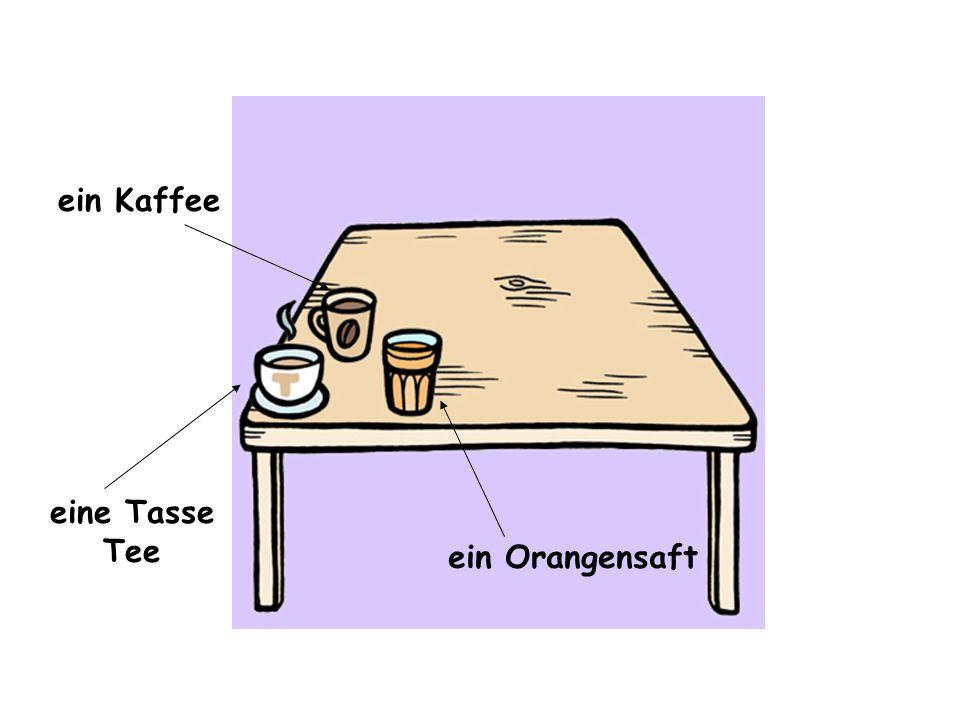 ein Orangensaft die Konfitüre eine Tasse Tee ein Kaffee