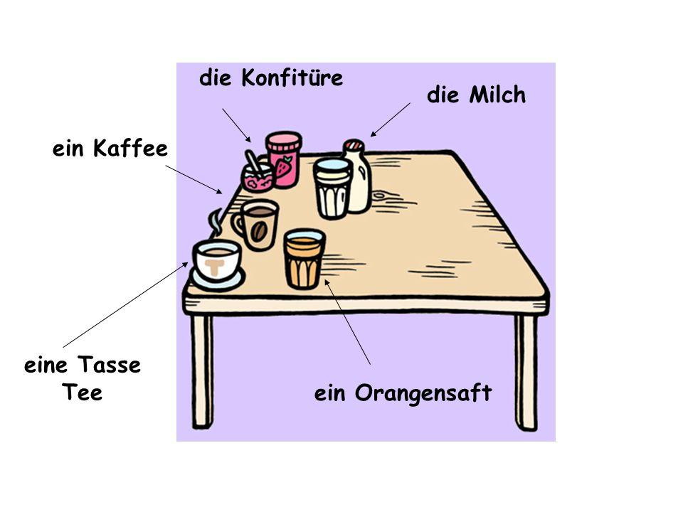 die Konfitüre die Milch ein Orangensaft eine Tasse Tee ein Kaffee