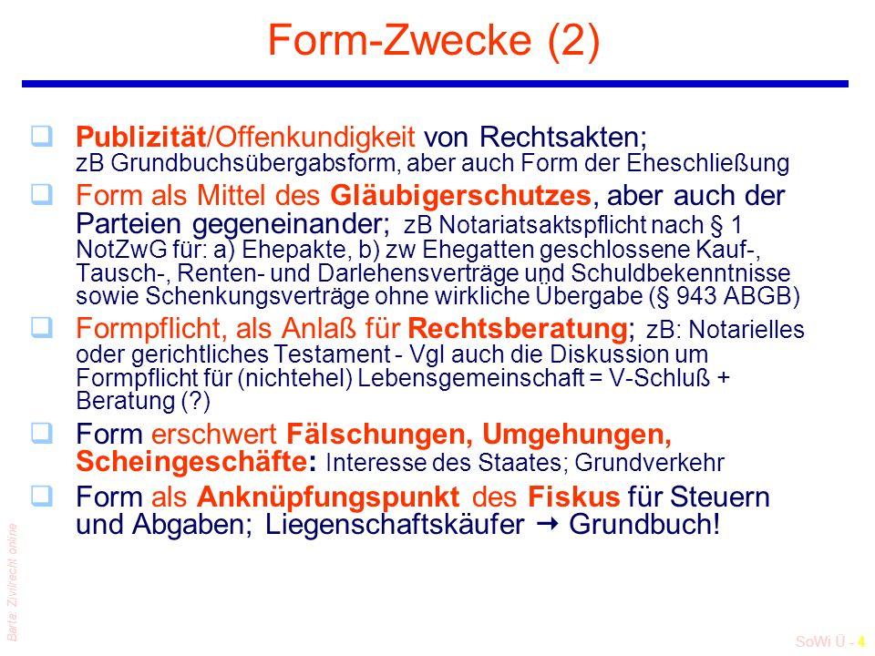 SoWi Ü - 4 Barta: Zivilrecht online Form-Zwecke (2) qPublizität/Offenkundigkeit von Rechtsakten; zB Grundbuchsübergabsform, aber auch Form der Eheschließung qForm als Mittel des Gläubigerschutzes, aber auch der Parteien gegeneinander; zB Notariatsaktspflicht nach § 1 NotZwG für: a) Ehepakte, b) zw Ehegatten geschlossene Kauf-, Tausch-, Renten- und Darlehensverträge und Schuldbekenntnisse sowie Schenkungsverträge ohne wirkliche Übergabe (§ 943 ABGB) qFormpflicht, als Anlaß für Rechtsberatung; zB: Notarielles oder gerichtliches Testament - Vgl auch die Diskussion um Formpflicht für (nichtehel) Lebensgemeinschaft = V-Schluß + Beratung ( ) qForm erschwert Fälschungen, Umgehungen, Scheingeschäfte: Interesse des Staates; Grundverkehr qForm als Anknüpfungspunkt des Fiskus für Steuern und Abgaben; Liegenschaftskäufer  Grundbuch!