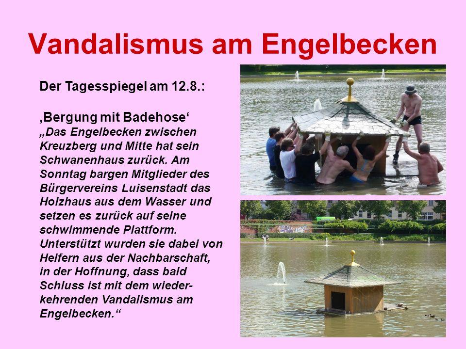 """Vandalismus am Engelbecken Der Tagesspiegel am 12.8.: 'Bergung mit Badehose' """"Das Engelbecken zwischen Kreuzberg und Mitte hat sein Schwanenhaus zurüc"""