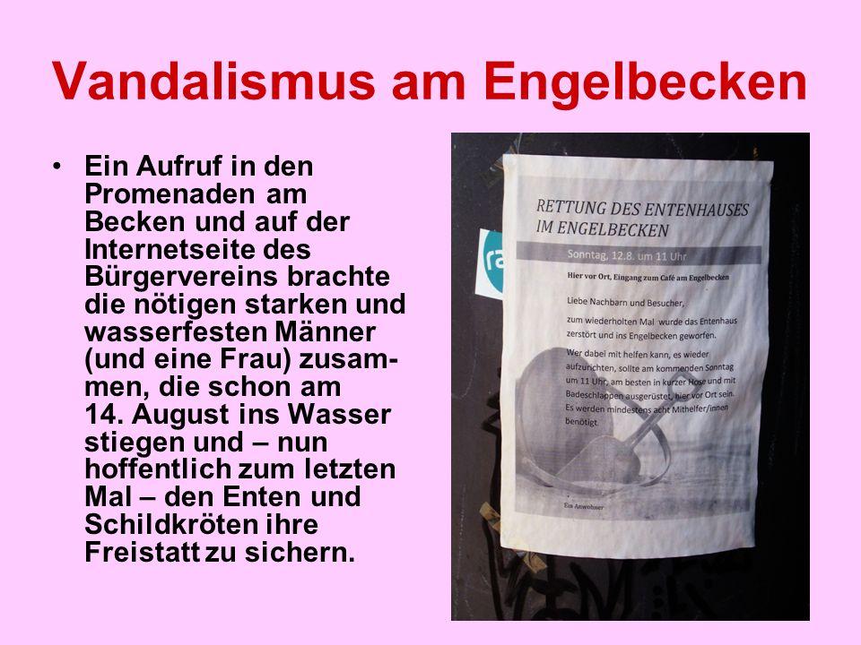 """Vandalismus am Engelbecken Der Tagesspiegel am 12.8.: 'Bergung mit Badehose' """"Das Engelbecken zwischen Kreuzberg und Mitte hat sein Schwanenhaus zurück."""