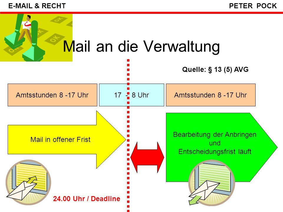Mail an die Verwaltung Anträge, Gesuche, Anzeigen etc können laut §13(1) AVG auch per Mail eingebracht werden aber nur schriftliche Anbringen (nicht Video- & Audiodateien), auch Attachment ist ok .
