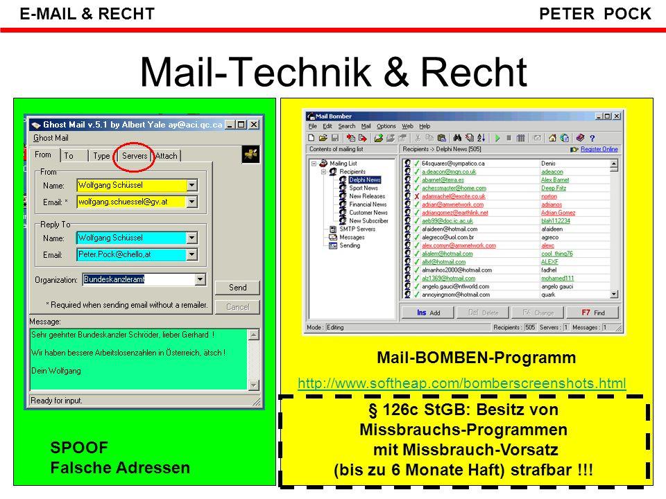 Neue E-Mail Gefahren HOAX Gefakte Viren- Warnungen SPOOF Getarnte Falsche Absender PHISHING Getäuschte Finanz-Mails SPAM 80% sind unerwünscht VIREN WÜRMER MAILS SNIFFING (Abhören) E-BOMBE LINKING