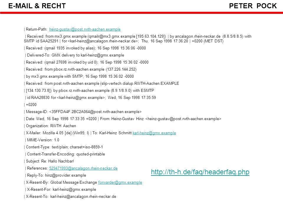 Vielen Dank für Ihre Aufmerksamkeit E-MAIL & RECHT PETER POCK