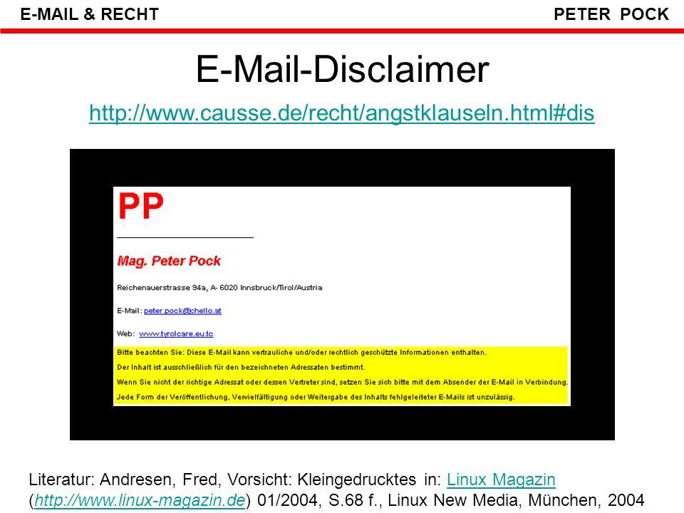 E-Mail-Disclaimer Bei Juristen beliebt, aber auch in vielen anderen Bereichen mehr und mehr anzutreffen sind Klauseln, welche am Ende einer E-Mail darauf aufmerksam machen, dass die E-Mail vertrauliche Daten enthalten kann und der Empfänger bestimmte Dinge tun soll, wenn er die E-Mail versehentlich erhalten hat.