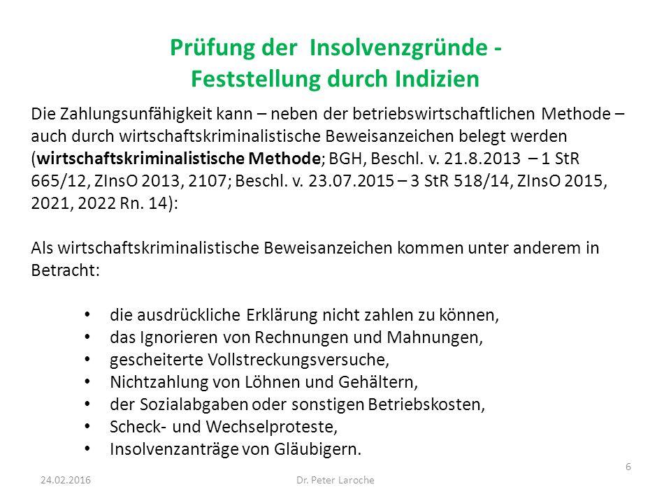 Prüfung der Insolvenzgründe - Feststellung durch Indizien Dr.