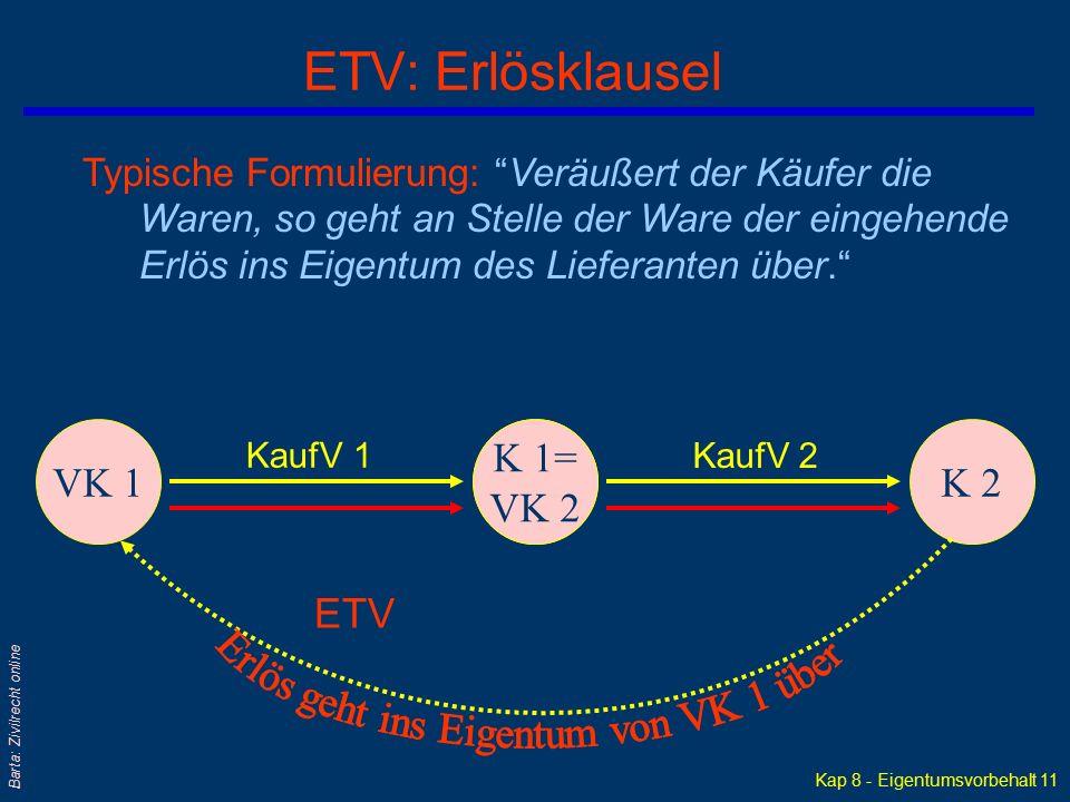 """Kap 8 - Eigentumsvorbehalt 10 Barta: Zivilrecht online ETV: Vorausabtretungsklausel VK 1K 1K 2 KaufV 1KaufV 2 ETV Typische Formulierung: """"Veräußert de"""