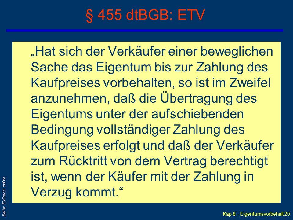 """Kap 8 - Eigentumsvorbehalt 19 Barta: Zivilrecht online § 1063 ABGB """"Wird die Sache dem Käufer von dem Verkäufer, ohne das Kaufgeld zu erhalten, übergeben; so ist die Sache auf Borg verkauft, und das Eigentum derselben geht gleich auf den Käufer über. Kauf auf Borg – Kreditkauf"""