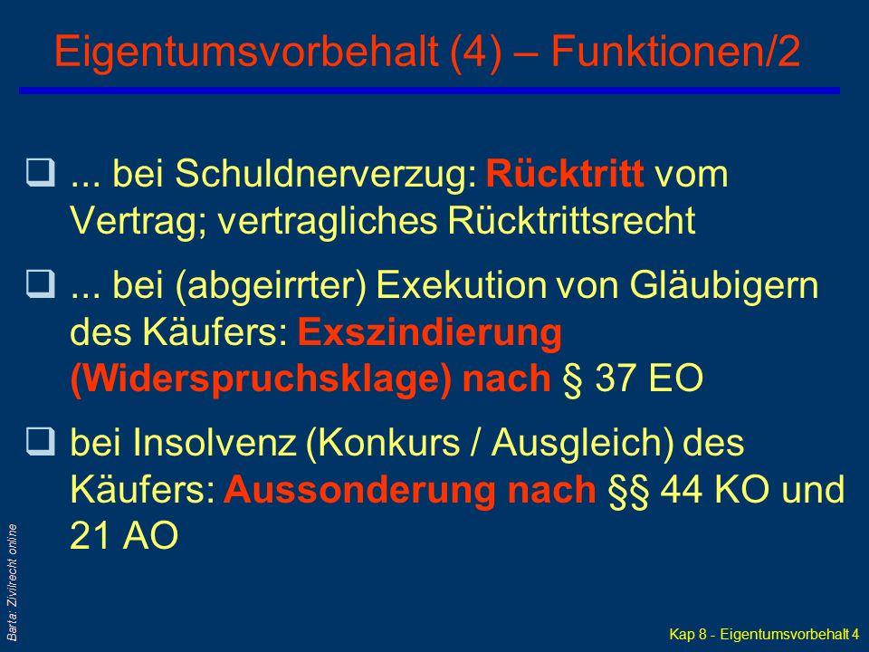 Kap 8 - Eigentumsvorbehalt 4 Barta: Zivilrecht online Eigentumsvorbehalt (4) – Funktionen/2 q...