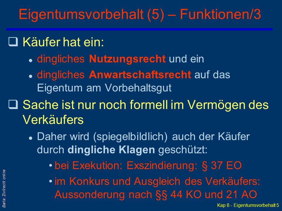 Kap 8 - Eigentumsvorbehalt 4 Barta: Zivilrecht online Eigentumsvorbehalt (4) – Funktionen/2 q... bei Schuldnerverzug: Rücktritt vom Vertrag; vertragli