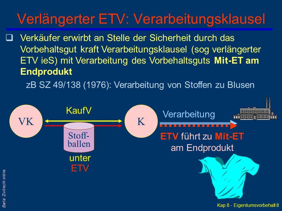 Kap 8 - Eigentumsvorbehalt 7 Barta: Zivilrecht online Formen des Eigentumsvorbehalts / ETV qEinfacher ETV qOffen weitergeleiteter ETV l Allenfalls mit