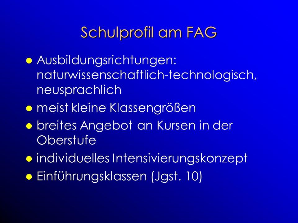 Schulprofil am FAG Ausbildungsrichtungen: naturwissenschaftlich-technologisch, neusprachlich meist kleine Klassengrößen breites Angebot an Kursen in d