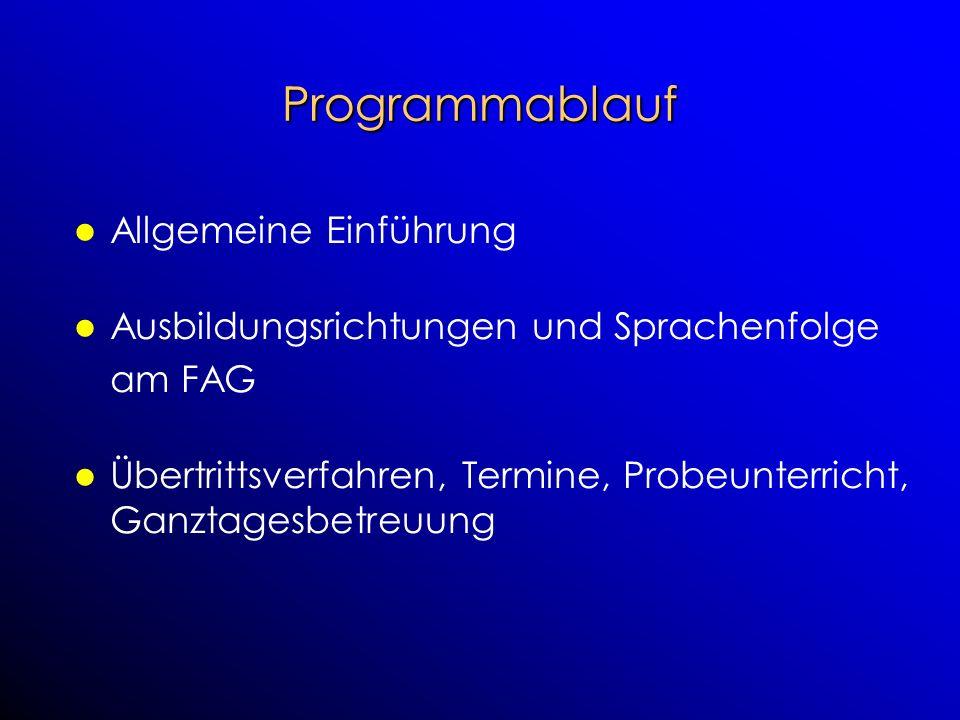Programmablauf Allgemeine Einführung Ausbildungsrichtungen und Sprachenfolge am FAG Übertrittsverfahren, Termine, Probeunterricht, Ganztagesbetreuung