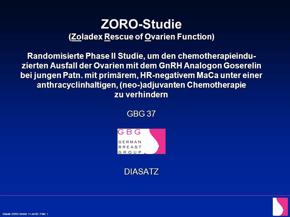 Diasatz ZORO Version 11-Jul-05 / Folie 22 ZORO: Pre-Study Screening In Goserelin-Gruppe muss vor Beginn der CHT Supression der Ovarien nachgewiesen sein .