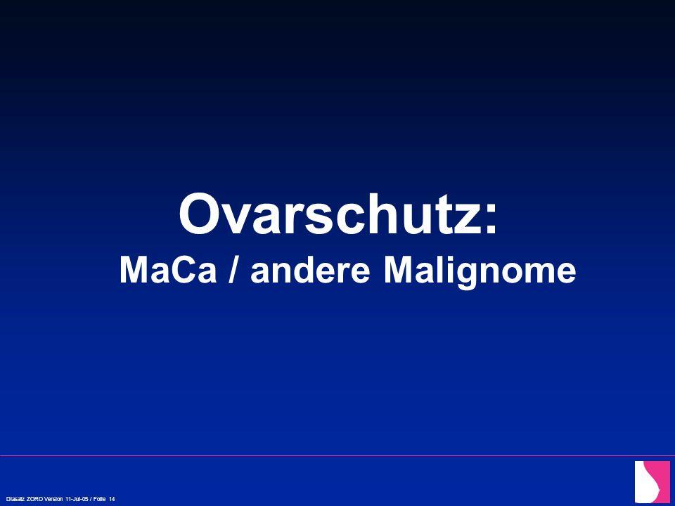 Diasatz ZORO Version 11-Jul-05 / Folie 14 Ovarschutz: MaCa / andere Malignome