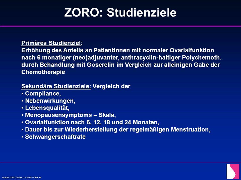 Diasatz ZORO Version 11-Jul-05 / Folie 19 ZORO: Studienziele Primäres Studienziel: Erhöhung des Anteils an Patientinnen mit normaler Ovarialfunktion n