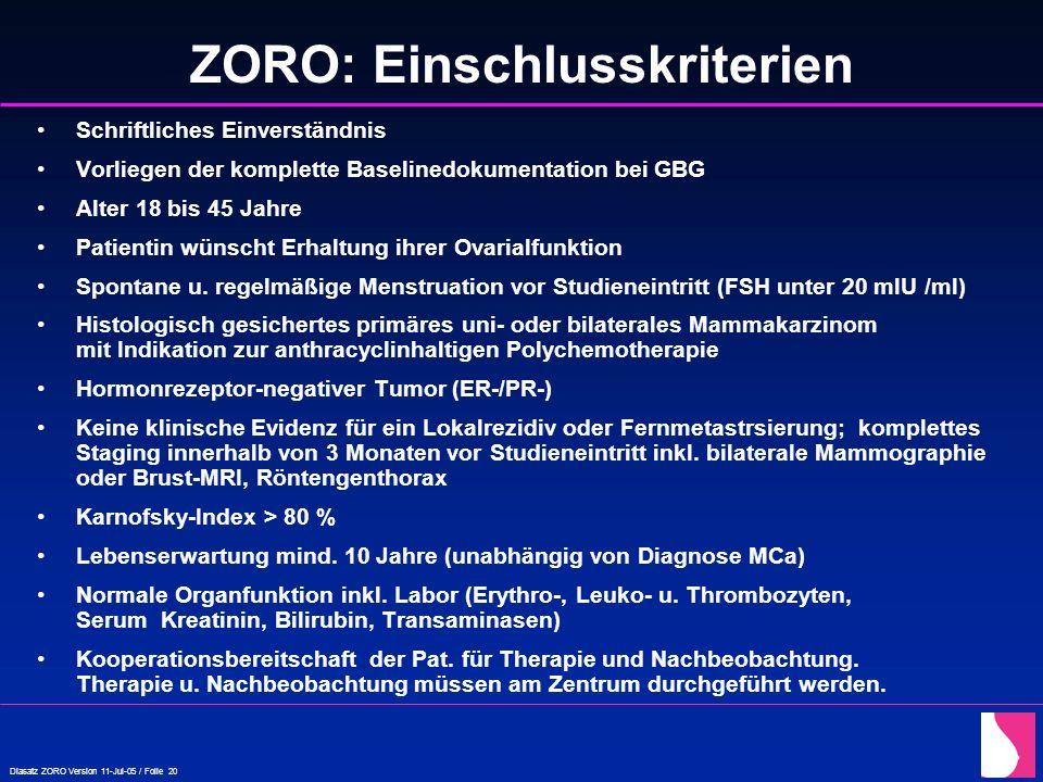 Diasatz ZORO Version 11-Jul-05 / Folie 20 ZORO: Einschlusskriterien Schriftliches Einverständnis Vorliegen der komplette Baselinedokumentation bei GBG