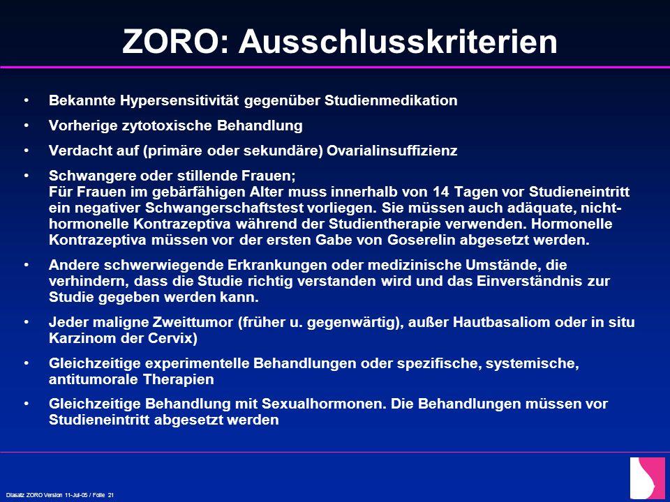 Diasatz ZORO Version 11-Jul-05 / Folie 21 ZORO: Ausschlusskriterien Bekannte Hypersensitivität gegenüber Studienmedikation Vorherige zytotoxische Beha