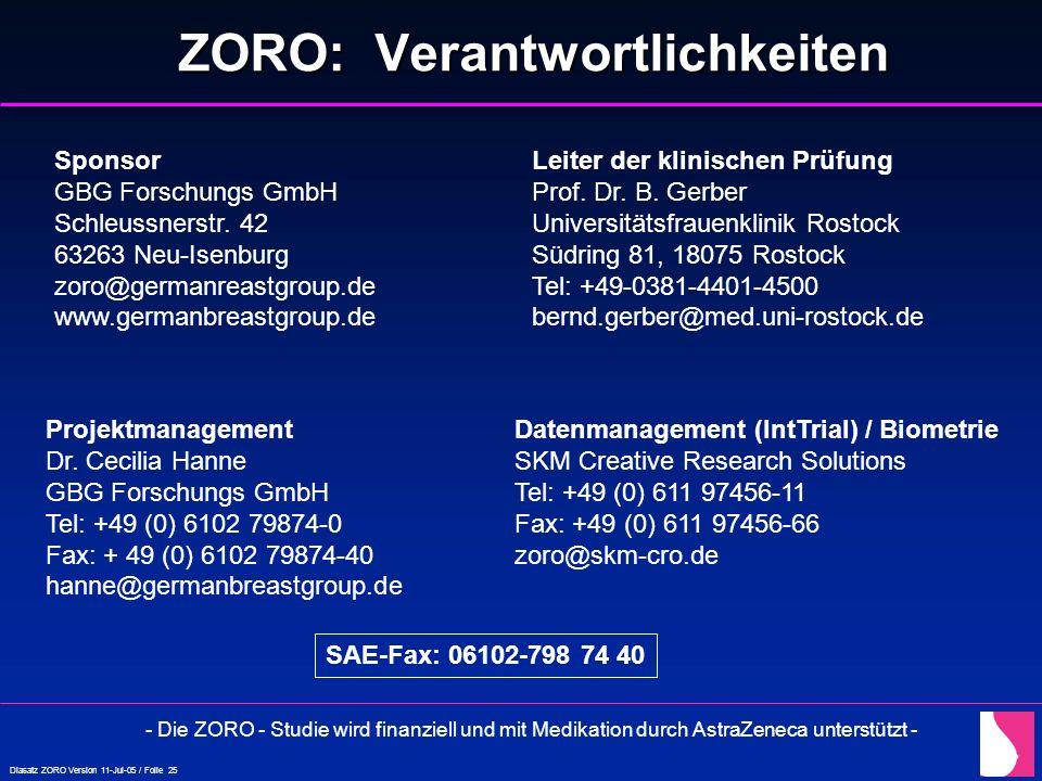 Diasatz ZORO Version 11-Jul-05 / Folie 25 ZORO: Verantwortlichkeiten Leiter der klinischen Prüfung Prof. Dr. B. Gerber Universitätsfrauenklinik Rostoc