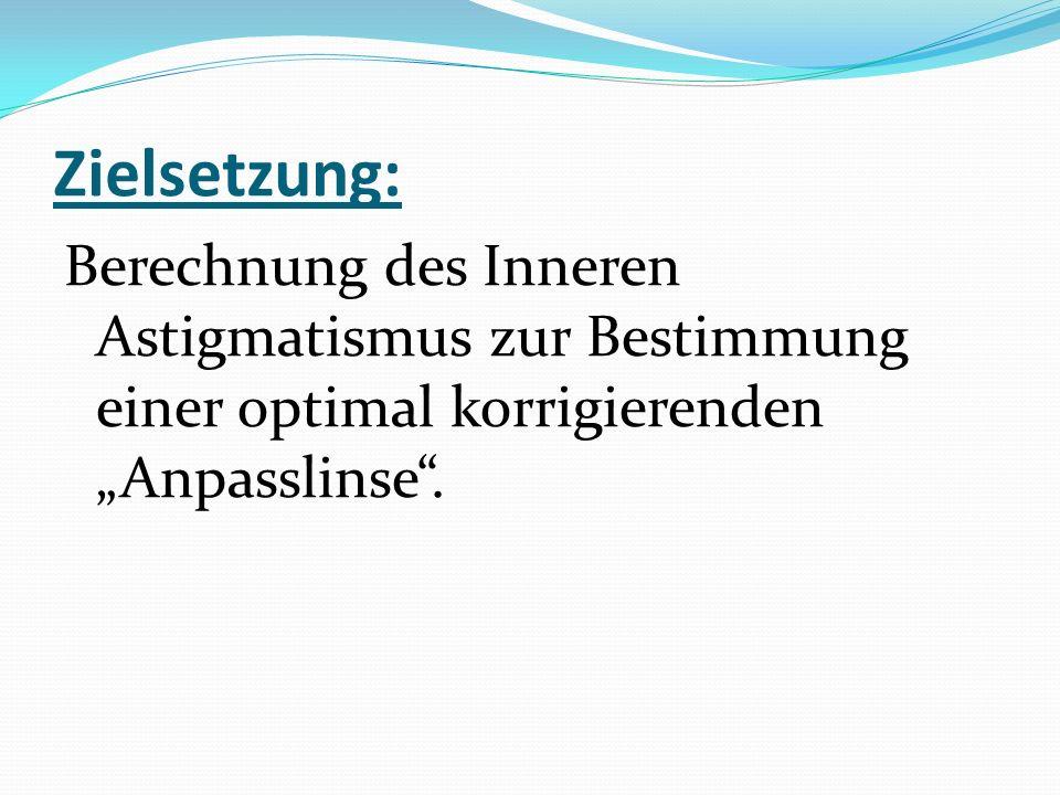 """Zielsetzung: Berechnung des Inneren Astigmatismus zur Bestimmung einer optimal korrigierenden """"Anpasslinse""""."""