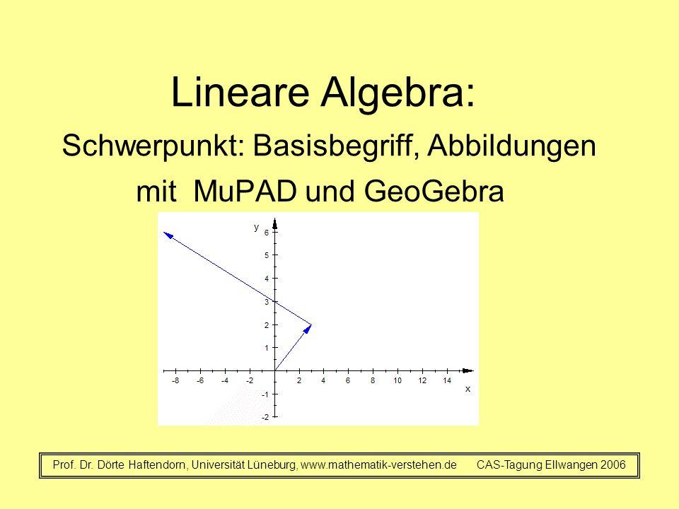 Lineare Algebra: Schwerpunkt: Basisbegriff, Abbildungen mit MuPAD und GeoGebra Prof. Dr. Dörte Haftendorn, Universität Lüneburg, www.mathematik-verste
