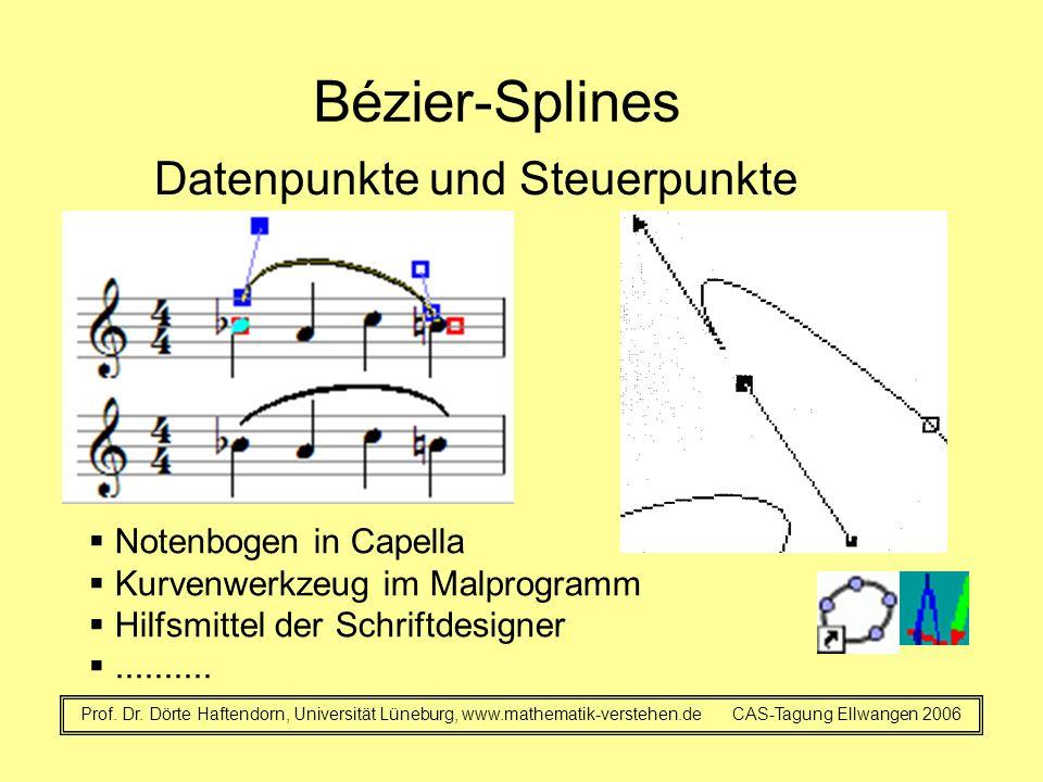 Bézier-Splines Datenpunkte und Steuerpunkte Prof. Dr. Dörte Haftendorn, Universität Lüneburg, www.mathematik-verstehen.de CAS-Tagung Ellwangen 2006 