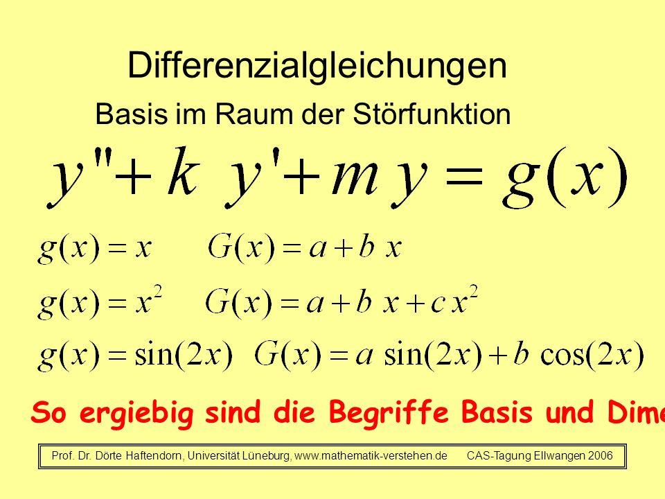 Differenzialgleichungen Basis im Raum der Störfunktion Prof. Dr. Dörte Haftendorn, Universität Lüneburg, www.mathematik-verstehen.de CAS-Tagung Ellwan